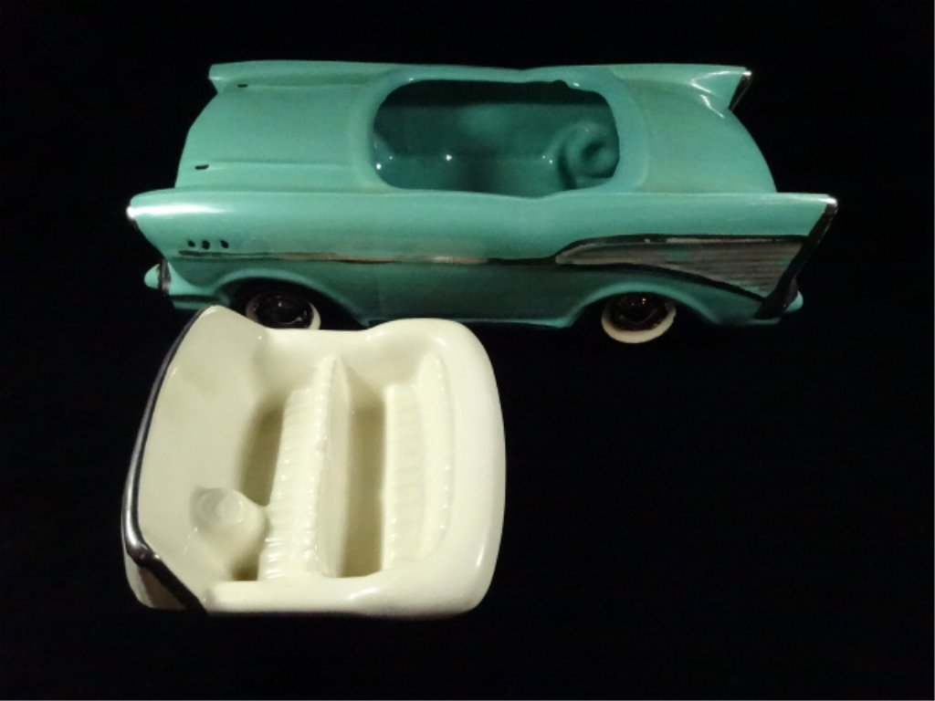 1957 CHEVY BEL AIR CONVERTIBLE COOKIE JAR, TEAL WITH - 3