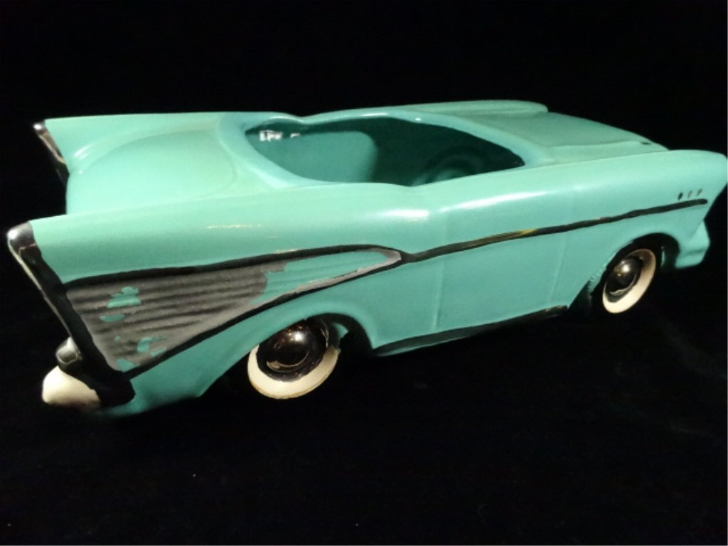 1957 CHEVY BEL AIR CONVERTIBLE COOKIE JAR, TEAL WITH - 6