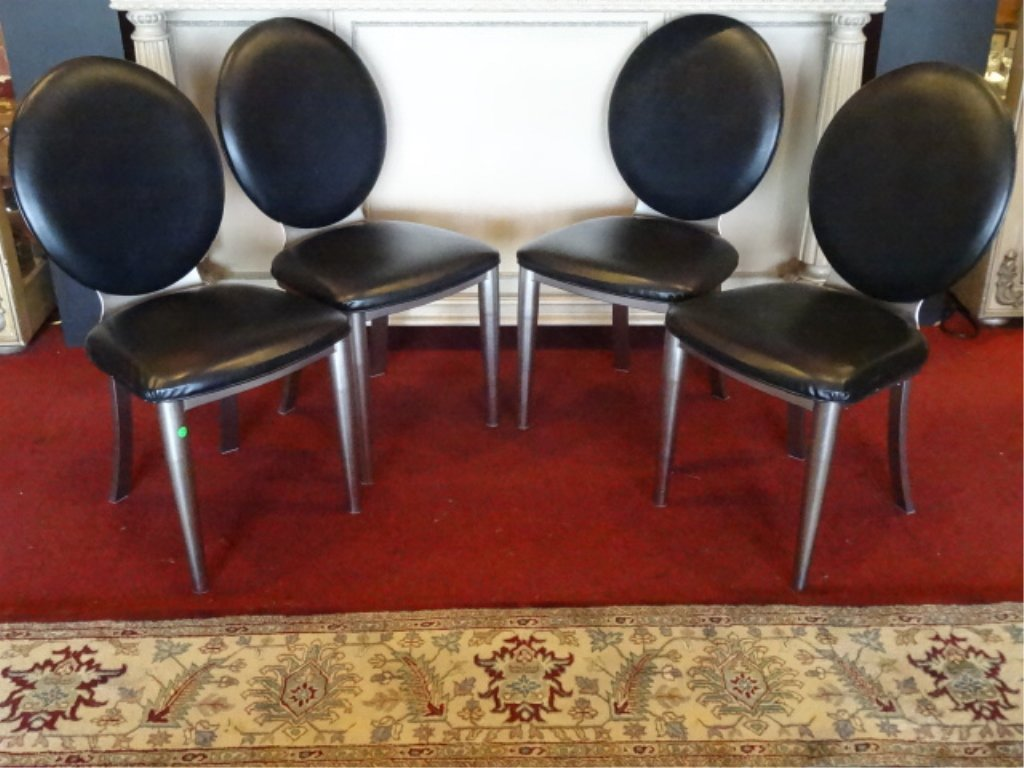 4 MODERN DESIGN OVAL BACK DINING CHAIRS, STEEL FRAMES,