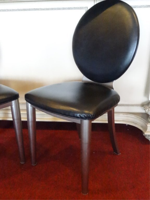 4 MODERN DESIGN OVAL BACK DINING CHAIRS, STEEL FRAMES, - 3