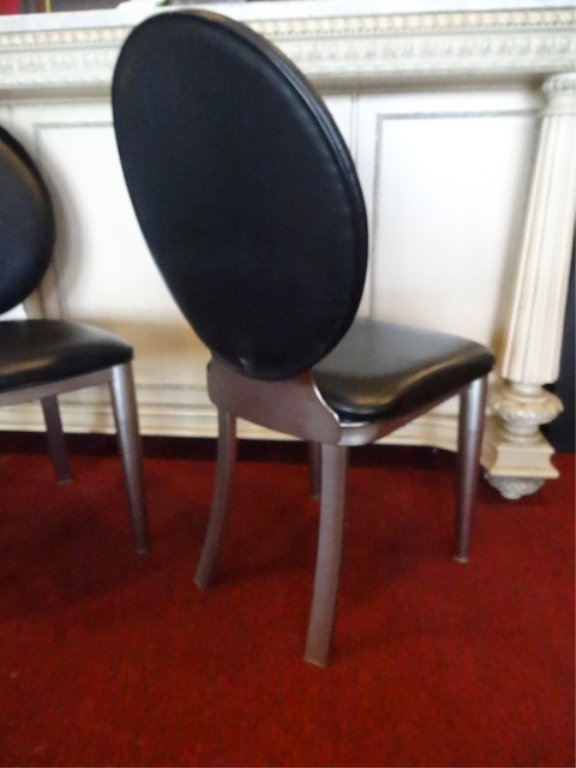 4 MODERN DESIGN OVAL BACK DINING CHAIRS, STEEL FRAMES, - 6