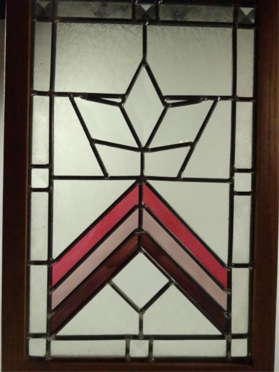 STAINED LEADED GLASS PANEL IN WOODEN FRAME, APPROX