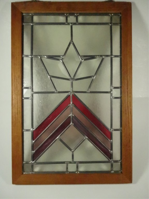 STAINED LEADED GLASS PANEL IN WOODEN FRAME, APPROX - 2