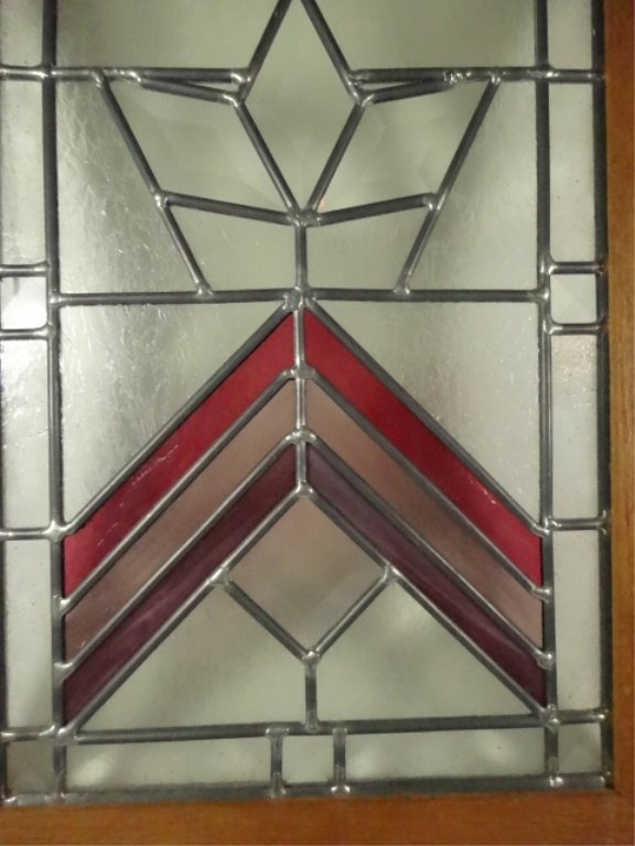 STAINED LEADED GLASS PANEL IN WOODEN FRAME, APPROX - 3