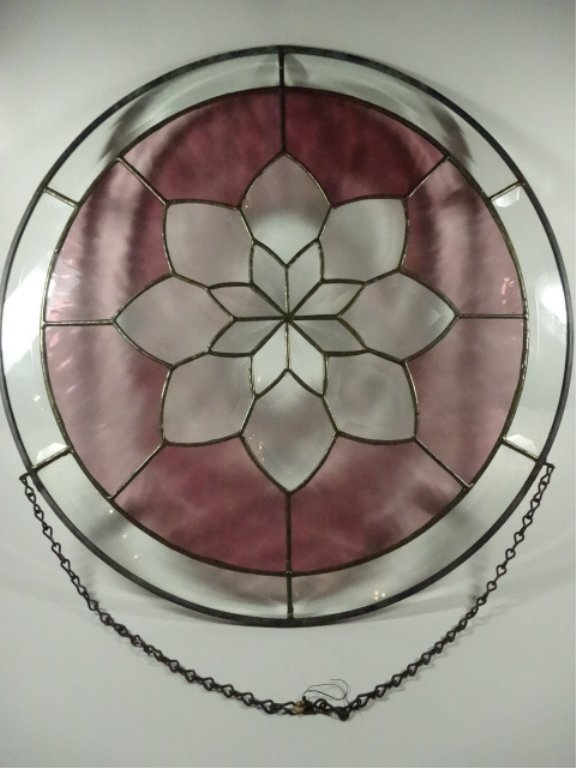 ROUND LEADED GLASS PANEL, FLORAL DESIGN WITH STAINED