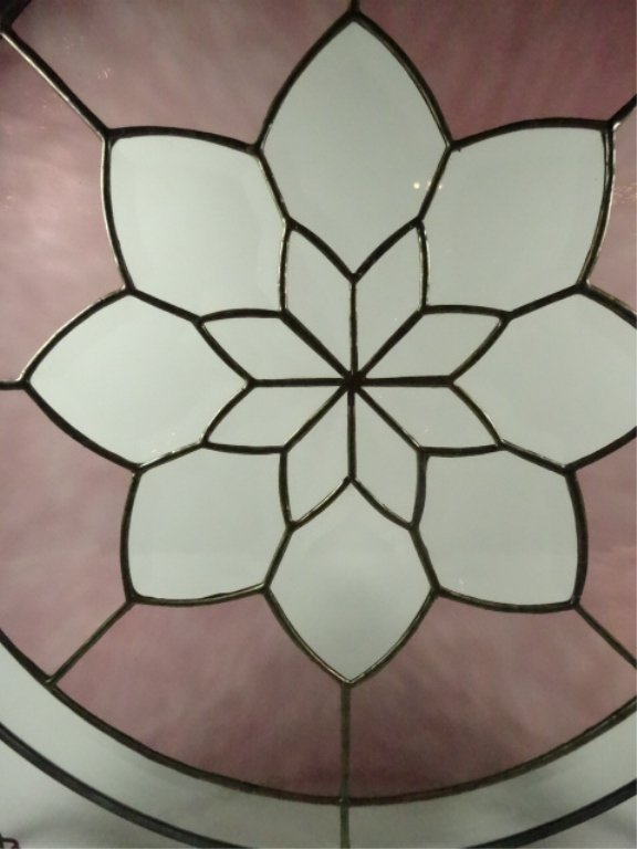 ROUND LEADED GLASS PANEL, FLORAL DESIGN WITH STAINED - 5