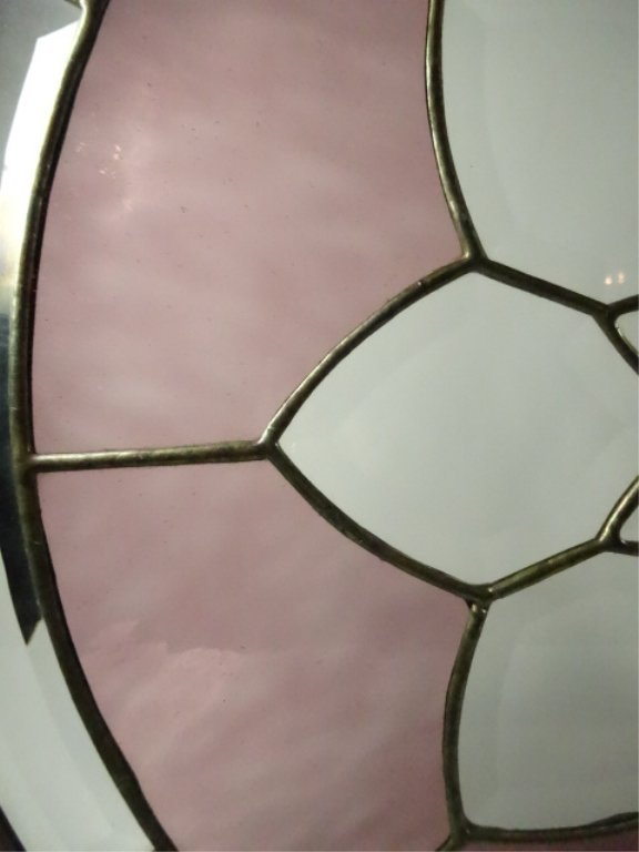 ROUND LEADED GLASS PANEL, FLORAL DESIGN WITH STAINED - 6