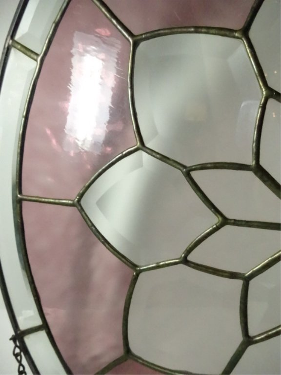 ROUND LEADED GLASS PANEL, FLORAL DESIGN WITH STAINED - 7