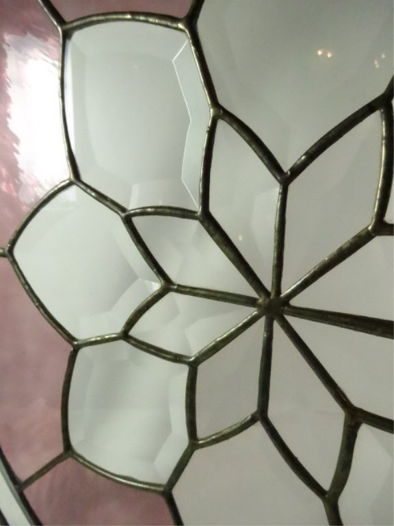 ROUND LEADED GLASS PANEL, FLORAL DESIGN WITH STAINED - 8