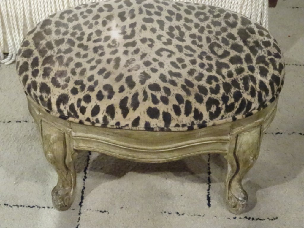SMALL OVAL FOOTSTOOL, CHEETAH PRINT UPHOLSTERY, WOOD