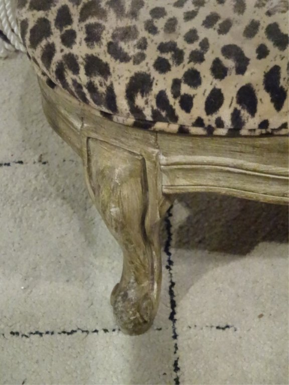 SMALL OVAL FOOTSTOOL, CHEETAH PRINT UPHOLSTERY, WOOD - 2