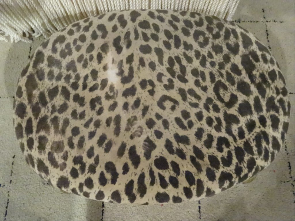 SMALL OVAL FOOTSTOOL, CHEETAH PRINT UPHOLSTERY, WOOD - 3