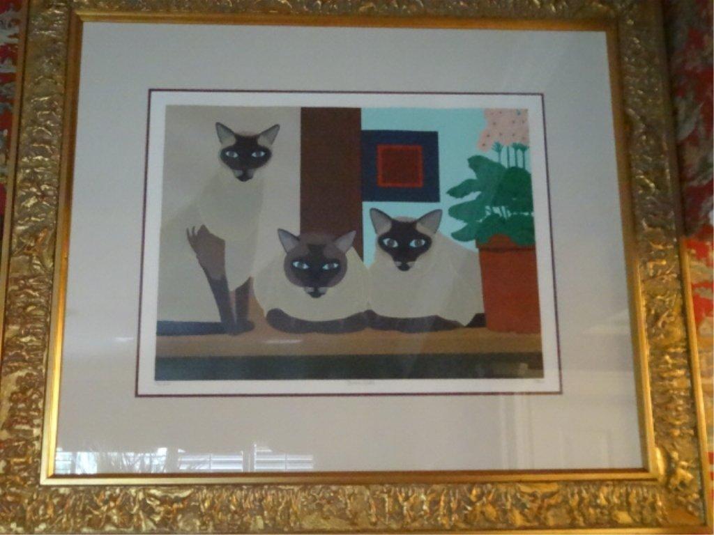 SHIGEO OKUMURA LITHOGRAPH, 3 SIAMESE CATS, SIGNED