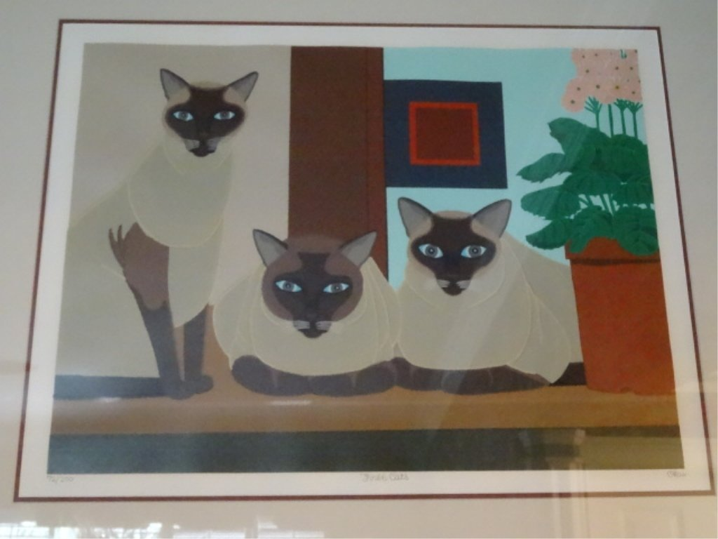 SHIGEO OKUMURA LITHOGRAPH, 3 SIAMESE CATS, SIGNED - 4