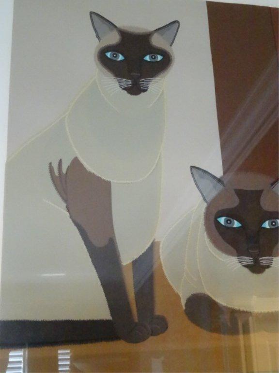 SHIGEO OKUMURA LITHOGRAPH, 3 SIAMESE CATS, SIGNED - 5