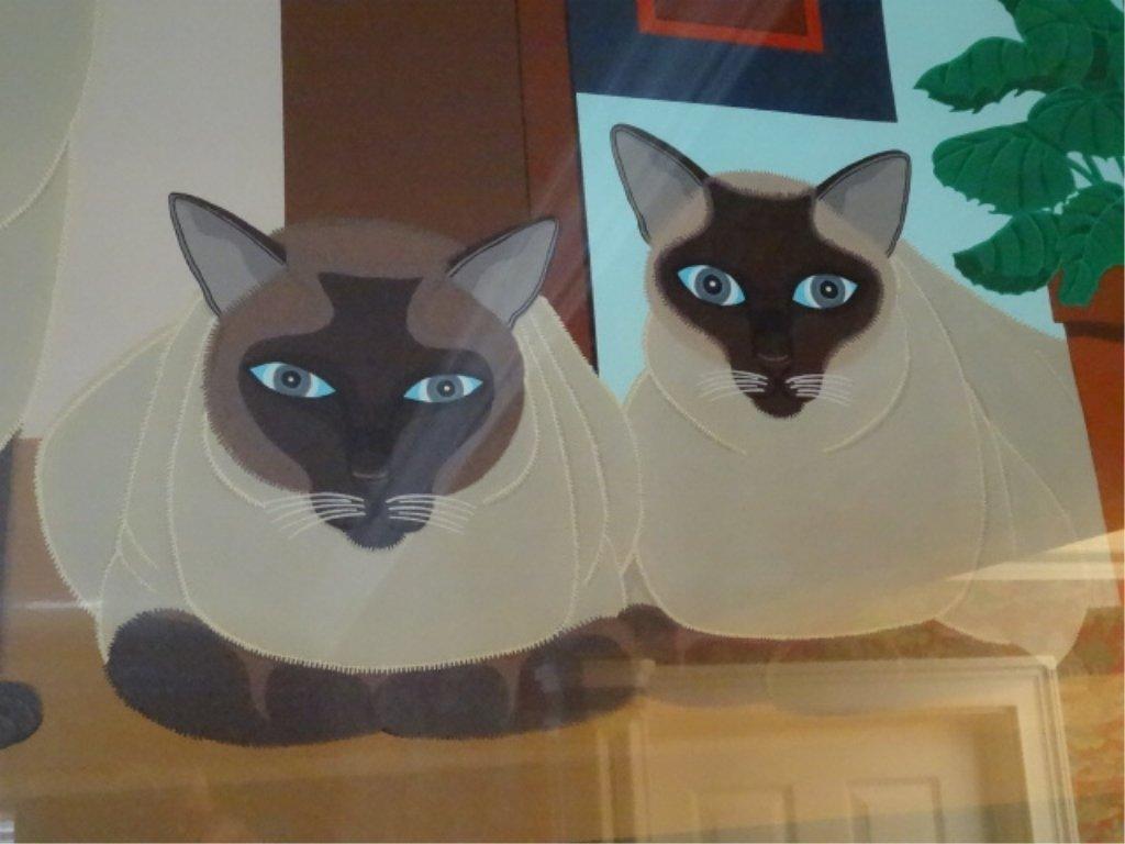 SHIGEO OKUMURA LITHOGRAPH, 3 SIAMESE CATS, SIGNED - 6
