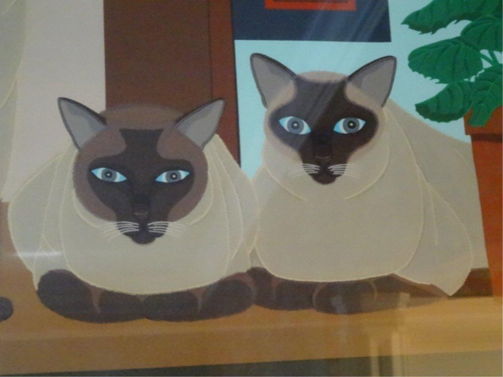 SHIGEO OKUMURA LITHOGRAPH, 3 SIAMESE CATS, SIGNED - 7