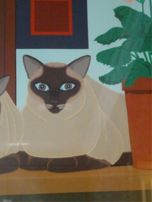 SHIGEO OKUMURA LITHOGRAPH, 3 SIAMESE CATS, SIGNED - 8