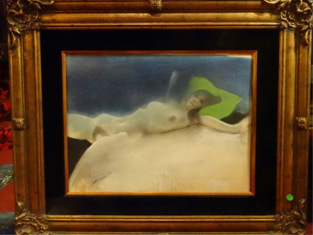 LARGE PRINT, RECLINING FEMALE NUDE, IN ORNATE GOLD