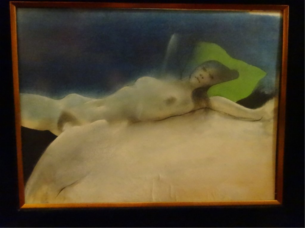 LARGE PRINT, RECLINING FEMALE NUDE, IN ORNATE GOLD - 2