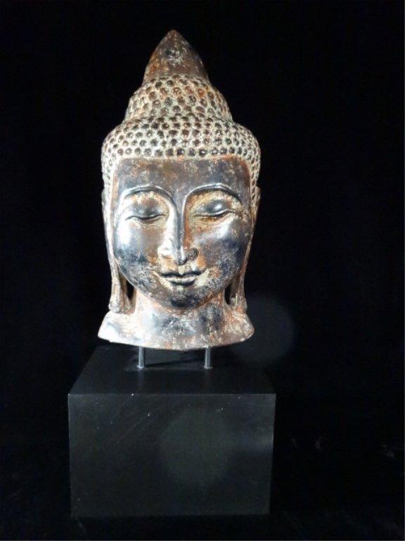 "BUDDHA HEAD SCULPTURE, MADE IN THAILAND, APPROX 27.5""H"