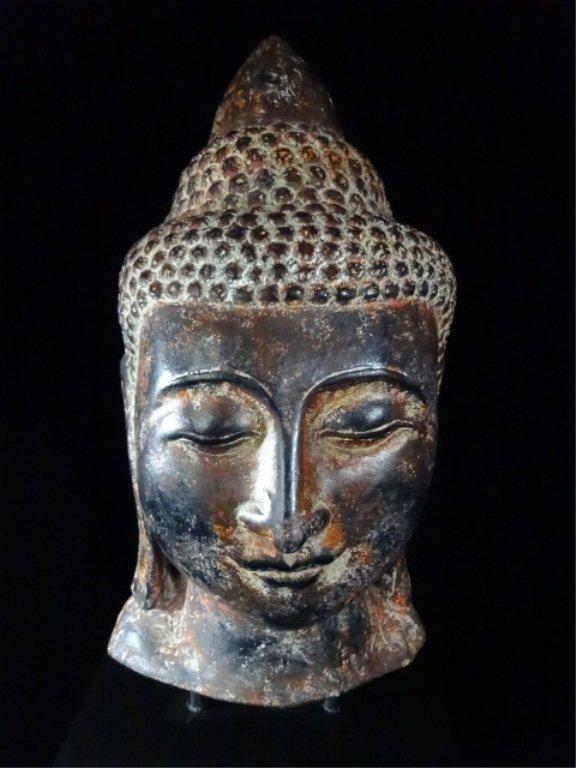 "BUDDHA HEAD SCULPTURE, MADE IN THAILAND, APPROX 27.5""H - 2"