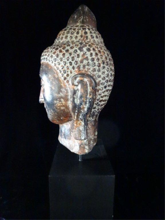 "BUDDHA HEAD SCULPTURE, MADE IN THAILAND, APPROX 27.5""H - 5"