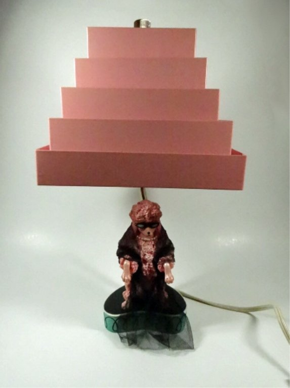 """PINK POODLE LAMP WITH METAL SHADE, APPROX 15""""H - 2"""