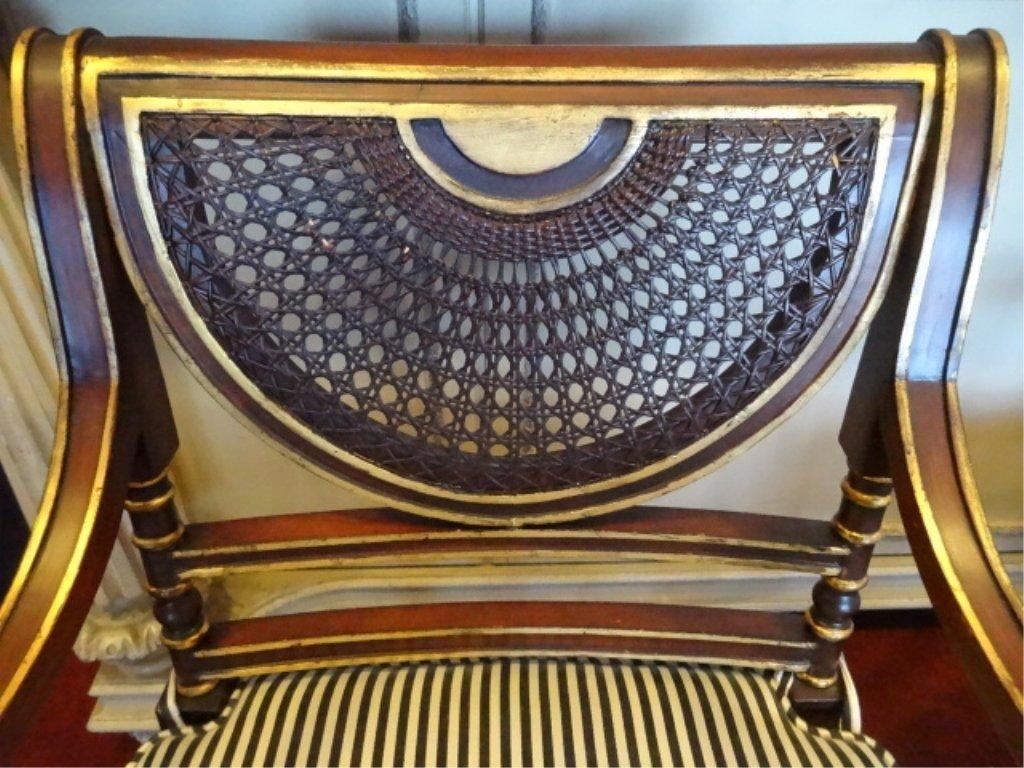 PAIR THOMAS SHERATON STYLE GILT WOOD ARMCHAIRS CANE - 7