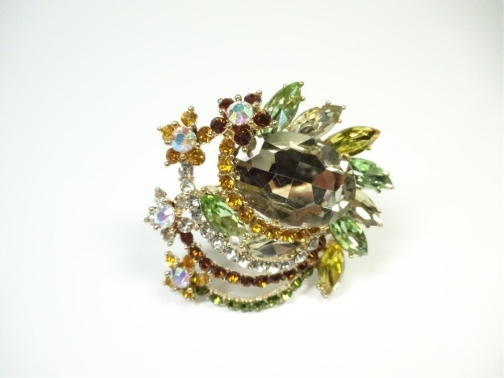 LARGE COSTUME JEWELRY BROOCH, AMBER & MULTICOLOR - 2