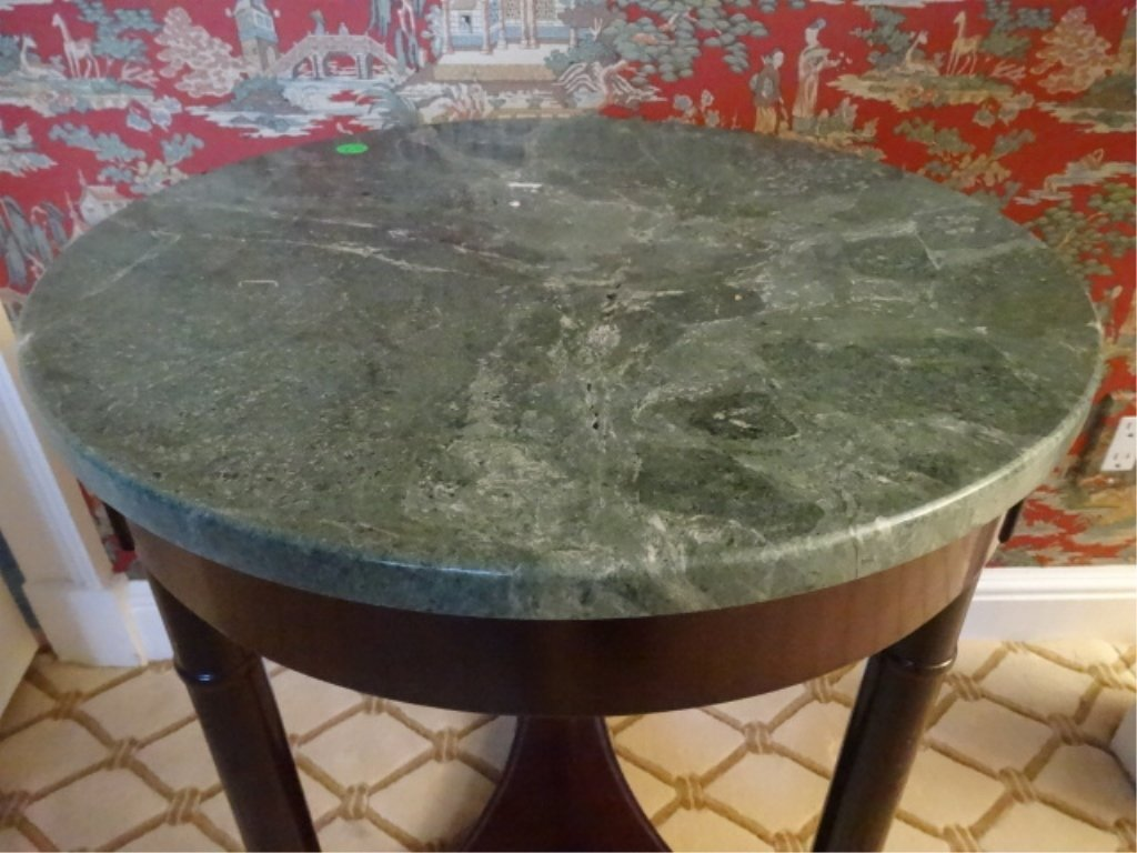 NEOCLASSICAL MARBLE TOP SIDE TABLE, BRASS MEDALLIONS, - 3
