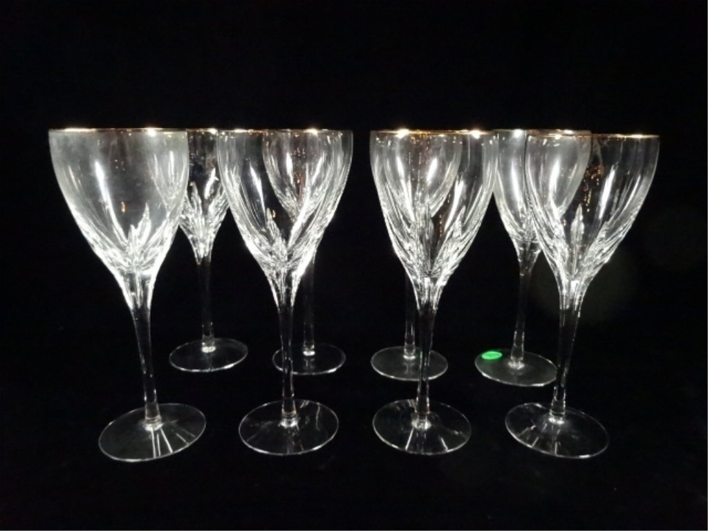 8 LENOX CRYSTAL WINE GLASSES WITH GOLD RIMS, APPROX 8