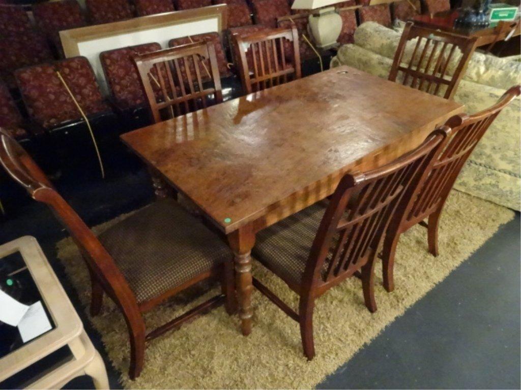 CIRCA 1900 WALNUT FARM TABLE, HAND TURNED LEGS, SOLID