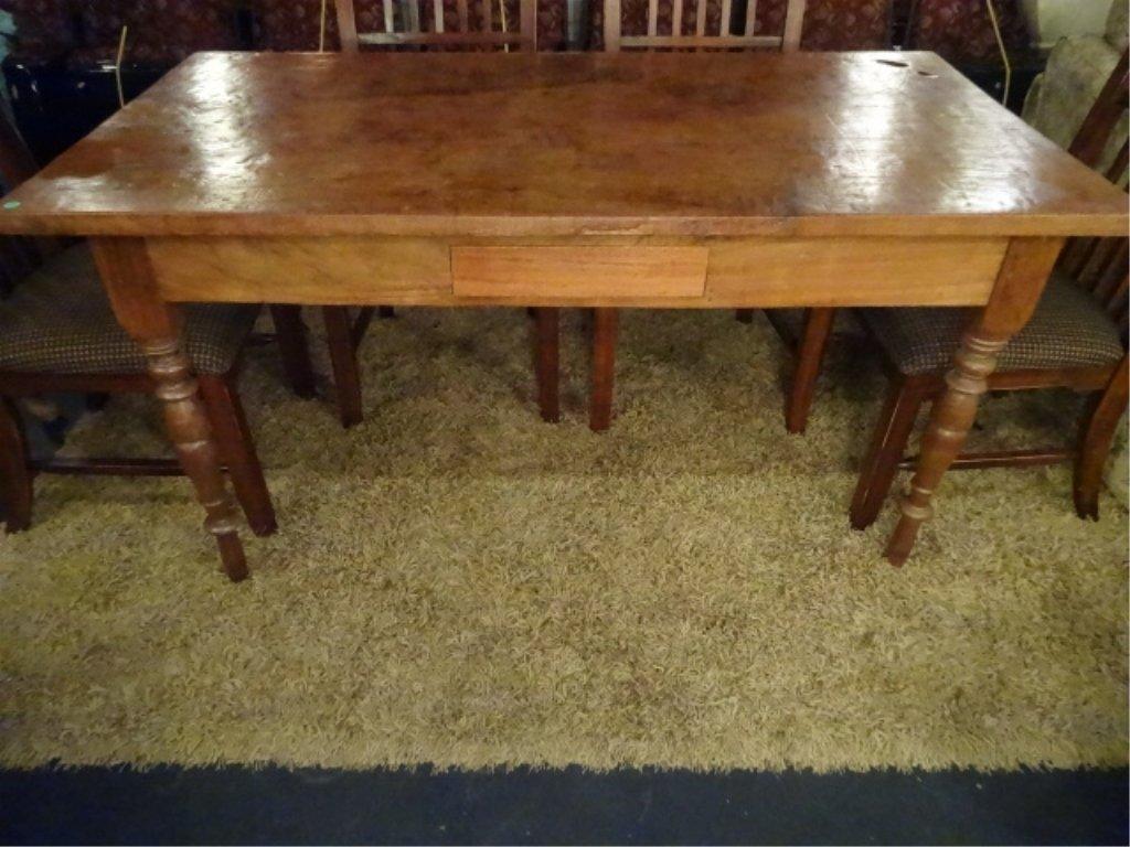 CIRCA 1900 WALNUT FARM TABLE, HAND TURNED LEGS, SOLID - 5