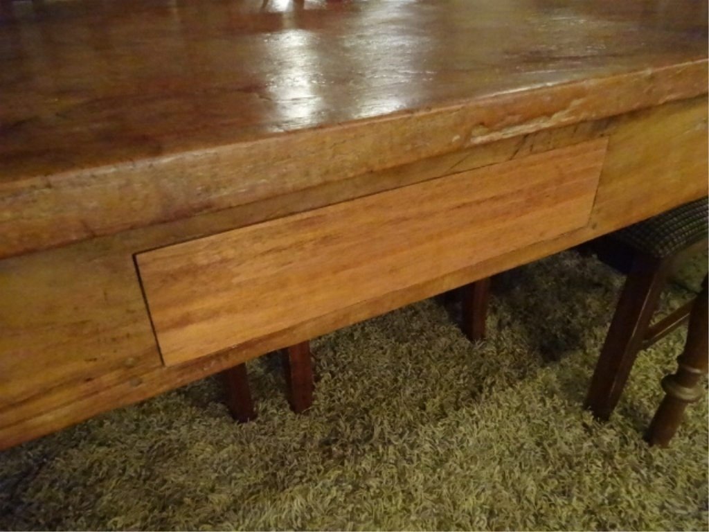 CIRCA 1900 WALNUT FARM TABLE, HAND TURNED LEGS, SOLID - 7