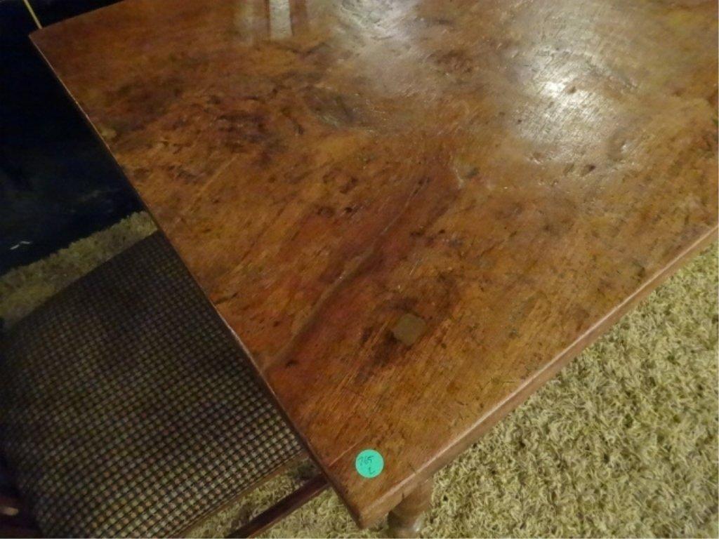 CIRCA 1900 WALNUT FARM TABLE, HAND TURNED LEGS, SOLID - 9
