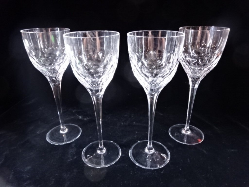 4 TALL WILLIAM YEOWARD CRYSTAL WINE GLASSES, ETCHED