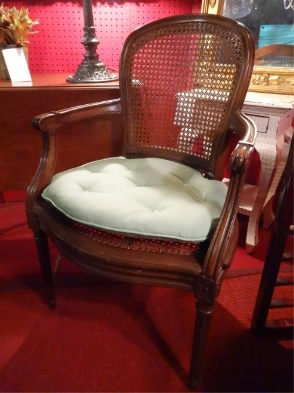 LOUIS XV STYLE OPEN ARMCHAIR, CANE BACK AND SEAT, VERY