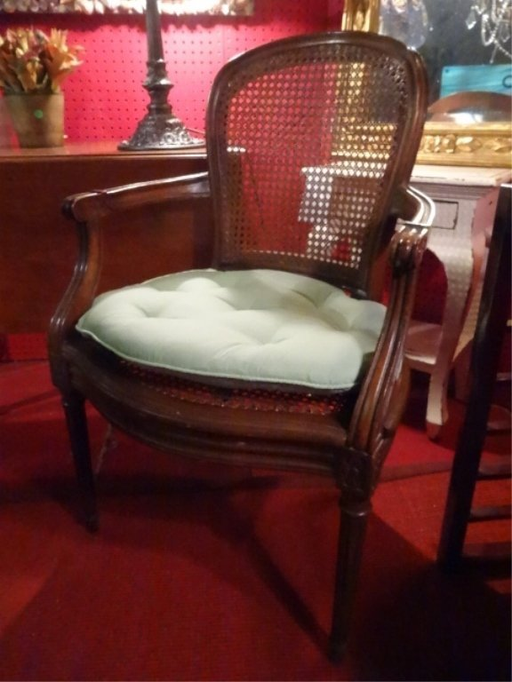 LOUIS XV STYLE OPEN ARMCHAIR, CANE BACK AND SEAT, VERY - 2