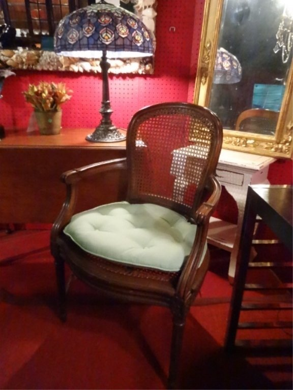 LOUIS XV STYLE OPEN ARMCHAIR, CANE BACK AND SEAT, VERY - 3