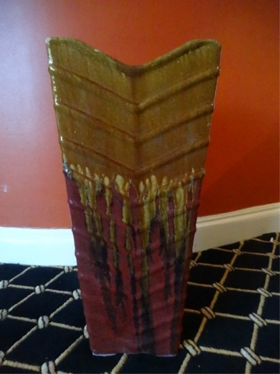 LARGE GOLD AND RED CERAMIC PLANTER, VERY GOOD - 2