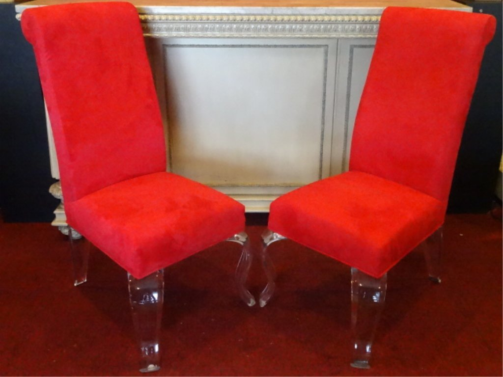 PAIR LUCITE LEG CHAIRS, CABRIOLE LUCITE LEGS, RED - 2