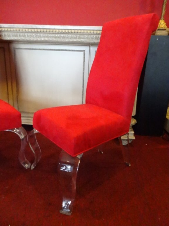 PAIR LUCITE LEG CHAIRS, CABRIOLE LUCITE LEGS, RED - 3