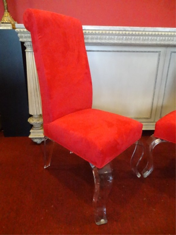 PAIR LUCITE LEG CHAIRS, CABRIOLE LUCITE LEGS, RED - 4