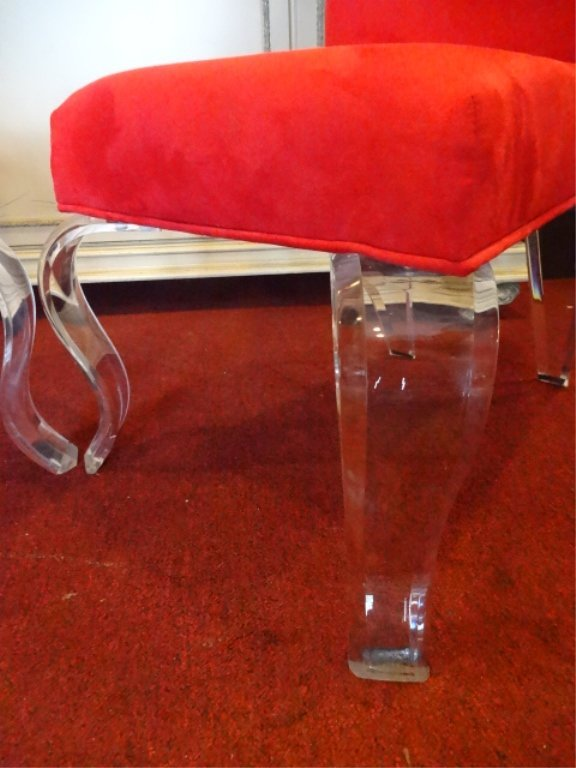 PAIR LUCITE LEG CHAIRS, CABRIOLE LUCITE LEGS, RED - 5