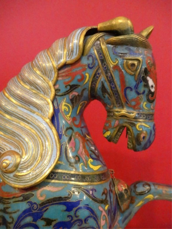 PAIR LARGE CHINESE CLOISONNE HORSE SCULPTURE, MIRROR - 4