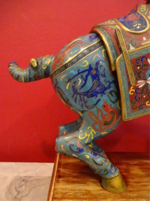 PAIR LARGE CHINESE CLOISONNE HORSE SCULPTURE, MIRROR - 5