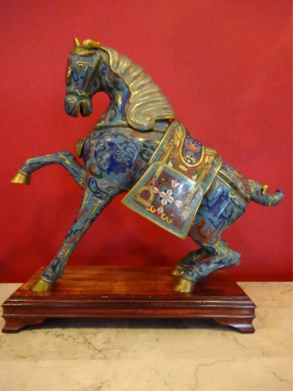 PAIR LARGE CHINESE CLOISONNE HORSE SCULPTURE, MIRROR - 7
