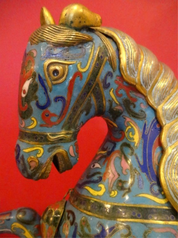 PAIR LARGE CHINESE CLOISONNE HORSE SCULPTURE, MIRROR - 9