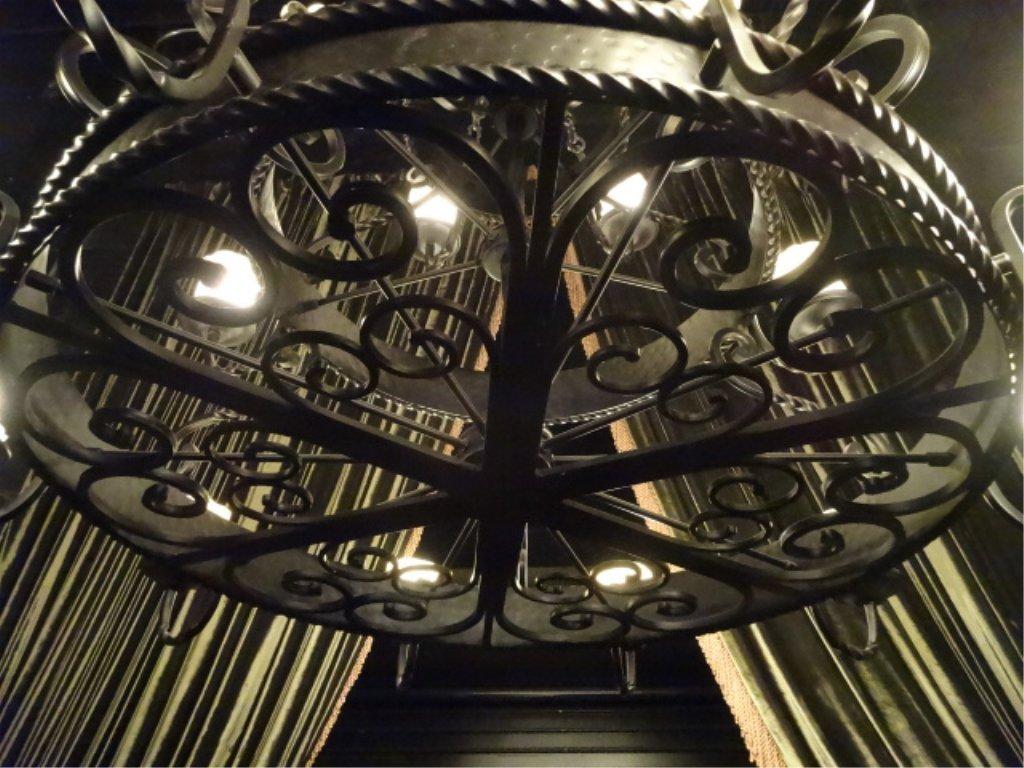 LARGE 22 LIGHT GOTHIC REVIVAL CHANDELIER, BLACK METAL - 5